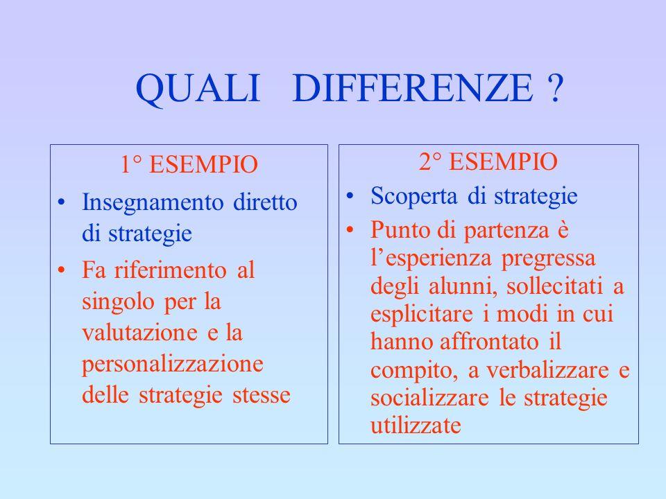 QUALI DIFFERENZE ? 1° ESEMPIO Insegnamento diretto di strategie Fa riferimento al singolo per la valutazione e la personalizzazione delle strategie st