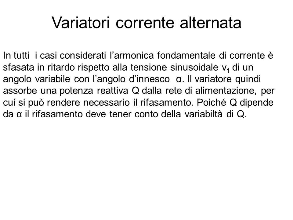 Variatori corrente alternata In tutti i casi considerati larmonica fondamentale di corrente è sfasata in ritardo rispetto alla tensione sinusoidale v