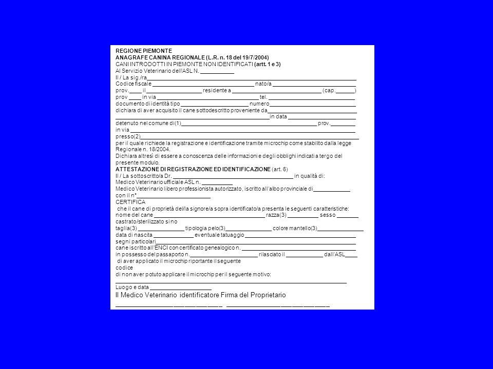 REGIONE PIEMONTE ANAGRAFE CANINA REGIONALE (L.R. n. 18 del 19/7/2004) CANI INTRODOTTI IN PIEMONTE NON IDENTIFICATI (artt. 1 e 3) Al Servizio Veterinar