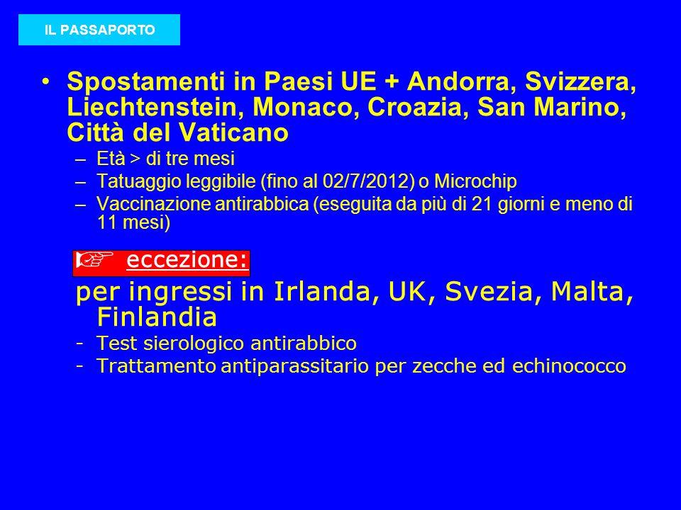 Spostamenti in Paesi UE + Andorra, Svizzera, Liechtenstein, Monaco, Croazia, San Marino, Città del Vaticano –Età > di tre mesi –Tatuaggio leggibile (f