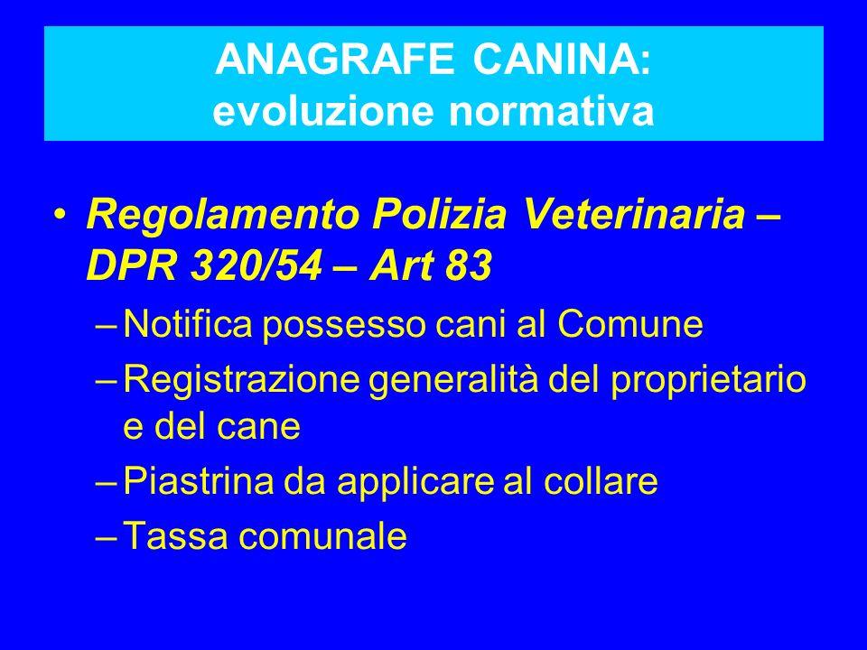 ANAGRAFE CANINA: evoluzione normativa Regolamento Polizia Veterinaria – DPR 320/54 – Art 83 –Notifica possesso cani al Comune –Registrazione generalit
