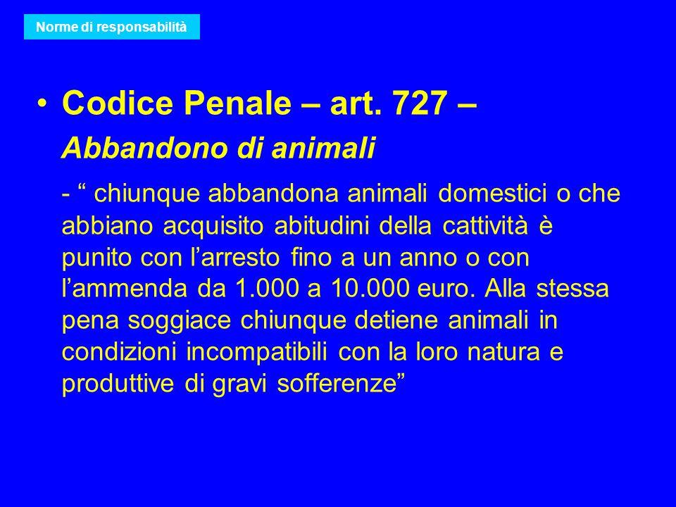 Codice Penale – art. 727 – Abbandono di animali - chiunque abbandona animali domestici o che abbiano acquisito abitudini della cattività è punito con