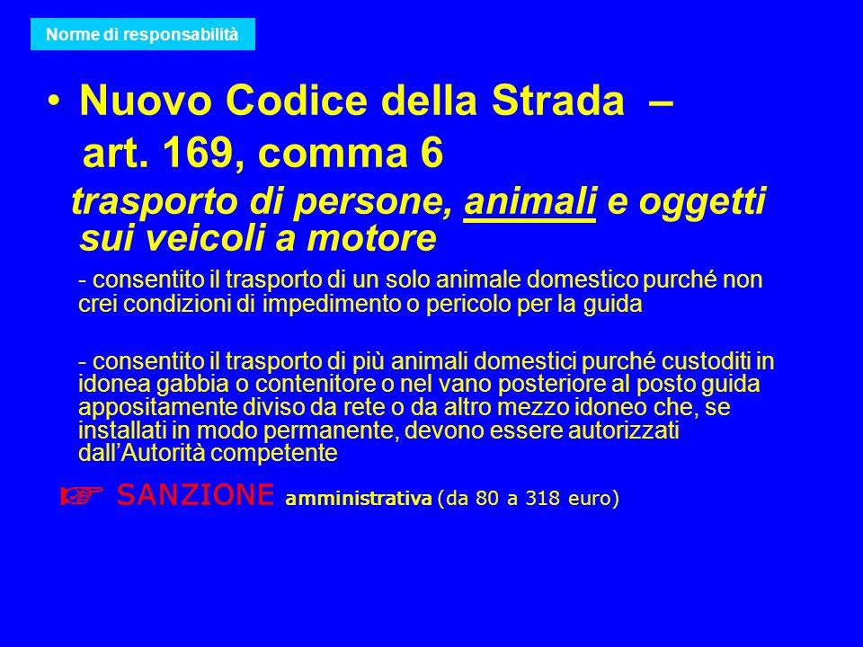 Nuovo Codice della Strada – art. 169, comma 6 trasporto di persone, animali e oggetti sui veicoli a motore - consentito il trasporto di un solo animal