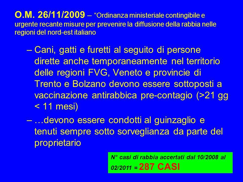 O.M. 26/11/2009 – Ordinanza ministeriale contingibile e urgente recante misure per prevenire la diffusione della rabbia nelle regioni del nord-est ita