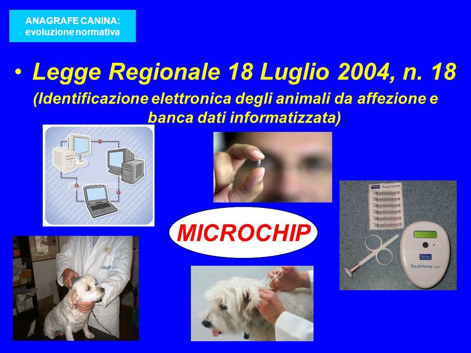 Legge Regionale 18 Luglio 2004, n. 18 (Identificazione elettronica degli animali da affezione e banca dati informatizzata) ANAGRAFE CANINA: evoluzione