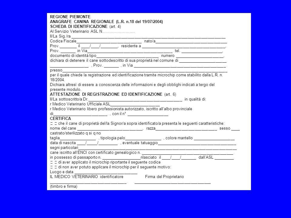 REGIONE PIEMONTE ANAGRAFE CANINA REGIONALE (L.R. n.18 del 19/07/2004) SCHEDA DI IDENTIFICAZIONE (art. 4) Al Servizio Veterinario ASL N……………………. Il/La