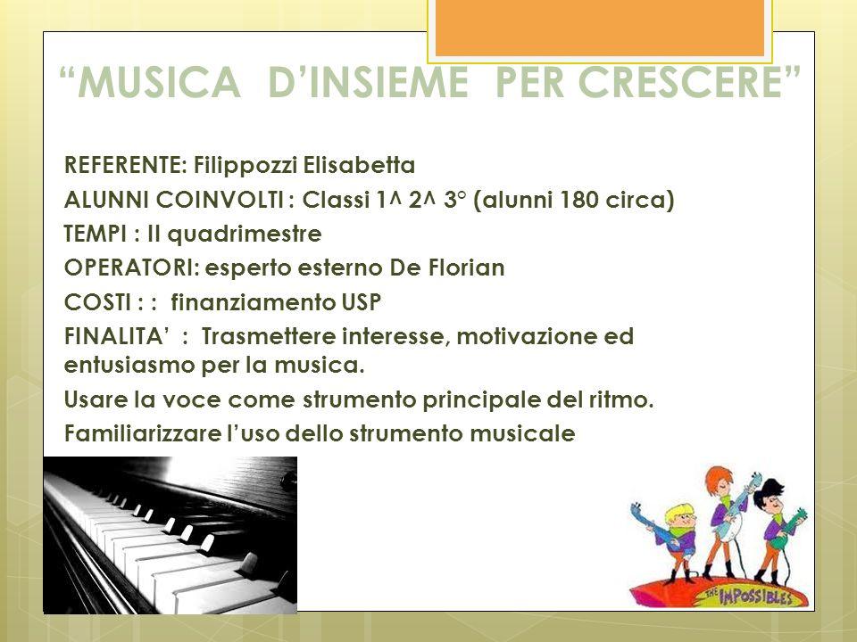 MUSICA DINSIEME PER CRESCERE REFERENTE: Filippozzi Elisabetta ALUNNI COINVOLTI : Classi 1^ 2^ 3° (alunni 180 circa) TEMPI : II quadrimestre OPERATORI: