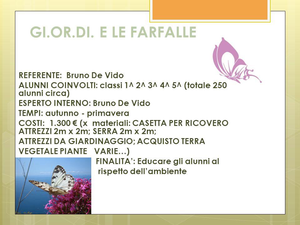 GI.OR.DI. E LE FARFALLE REFERENTE: Bruno De Vido ALUNNI COINVOLTI: classi 1^ 2^ 3^ 4^ 5^ (totale 250 alunni circa) ESPERTO INTERNO: Bruno De Vido TEMP