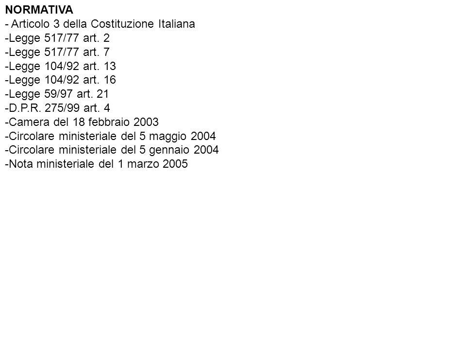 NORMATIVA - Articolo 3 della Costituzione Italiana -Legge 517/77 art.