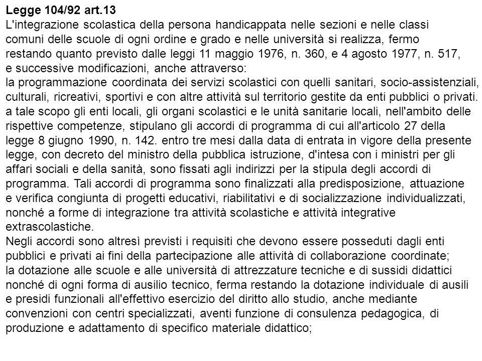 Legge 104/92 art.13 L integrazione scolastica della persona handicappata nelle sezioni e nelle classi comuni delle scuole di ogni ordine e grado e nelle università si realizza, fermo restando quanto previsto dalle leggi 11 maggio 1976, n.