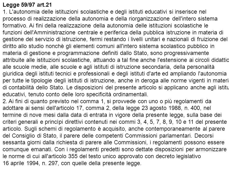 Legge 59/97 art.21 1.