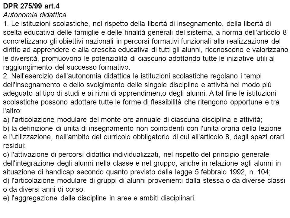 DPR 275/99 art.4 Autonomia didattica 1.