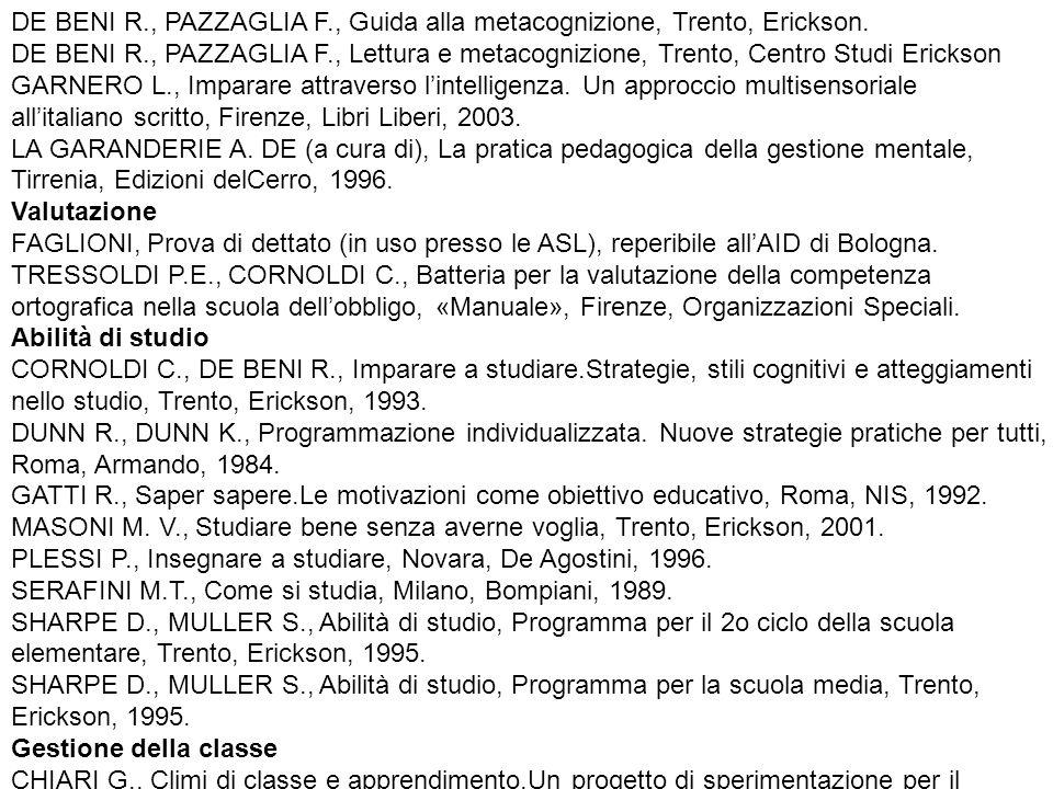 DE BENI R., PAZZAGLIA F., Guida alla metacognizione, Trento, Erickson.
