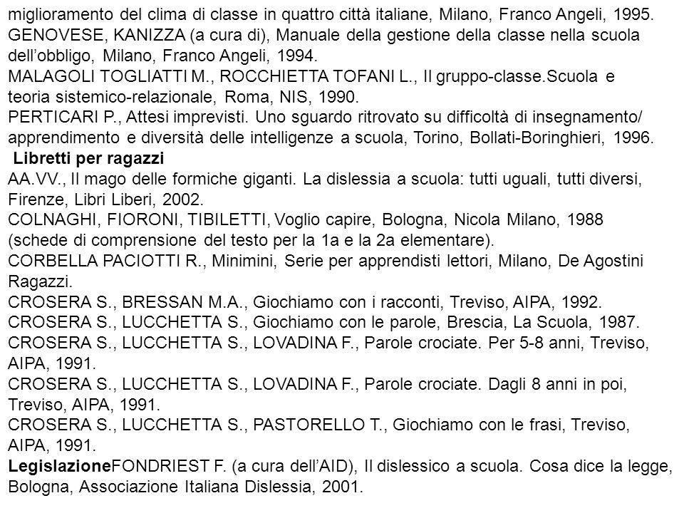 miglioramento del clima di classe in quattro città italiane, Milano, Franco Angeli, 1995.