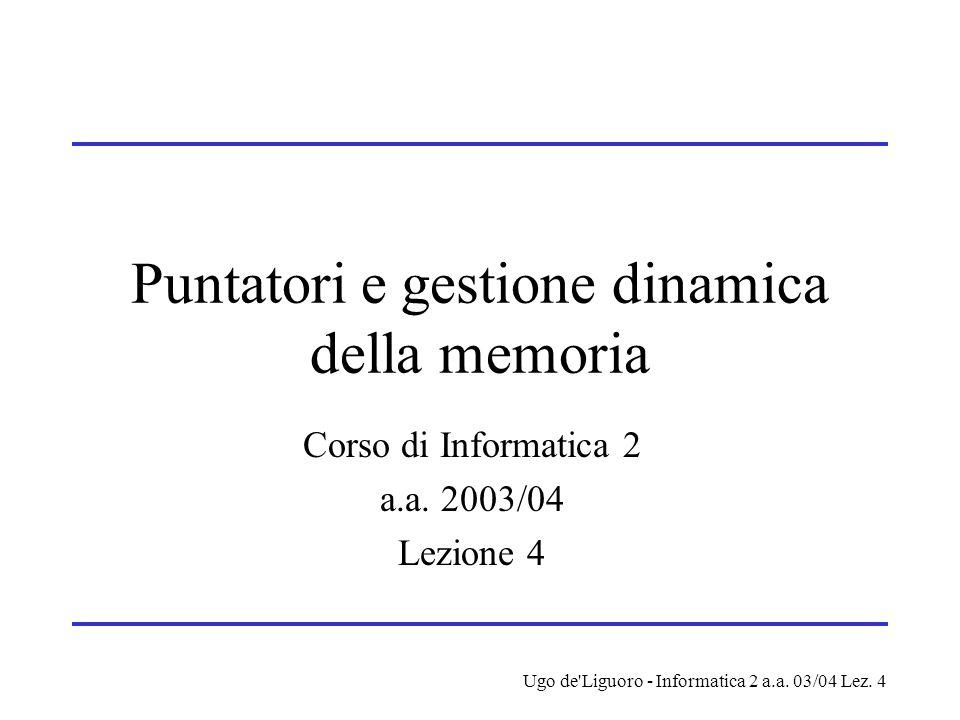 Ugo de'Liguoro - Informatica 2 a.a. 03/04 Lez. 4 Puntatori e gestione dinamica della memoria Corso di Informatica 2 a.a. 2003/04 Lezione 4