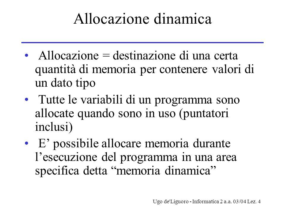 Ugo de'Liguoro - Informatica 2 a.a. 03/04 Lez. 4 Allocazione dinamica Allocazione = destinazione di una certa quantità di memoria per contenere valori