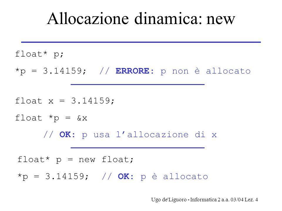 Ugo de'Liguoro - Informatica 2 a.a. 03/04 Lez. 4 Allocazione dinamica: new float* p; *p = 3.14159; // ERRORE: p non è allocato float x = 3.14159; floa