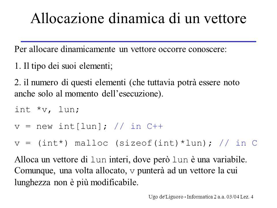 Ugo de'Liguoro - Informatica 2 a.a. 03/04 Lez. 4 Allocazione dinamica di un vettore Per allocare dinamicamente un vettore occorre conoscere: 1. Il tip