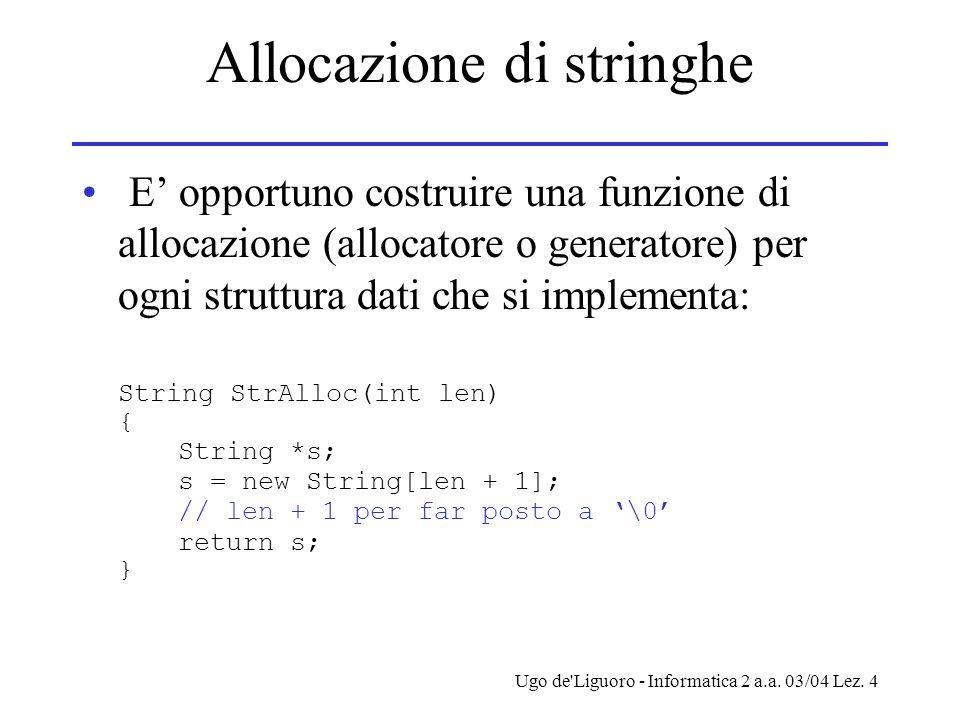 Ugo de'Liguoro - Informatica 2 a.a. 03/04 Lez. 4 Allocazione di stringhe E opportuno costruire una funzione di allocazione (allocatore o generatore) p