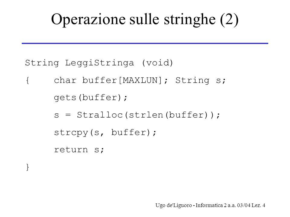 Ugo de'Liguoro - Informatica 2 a.a. 03/04 Lez. 4 Operazione sulle stringhe (2) String LeggiStringa (void) {char buffer[MAXLUN]; String s; gets(buffer)