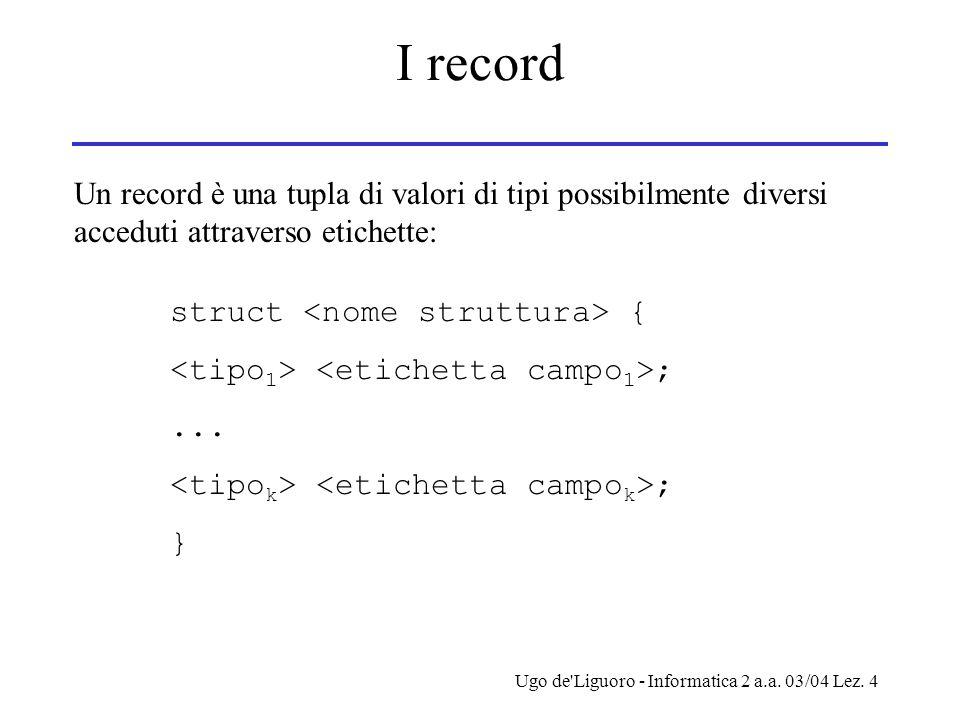 Ugo de'Liguoro - Informatica 2 a.a. 03/04 Lez. 4 I record Un record è una tupla di valori di tipi possibilmente diversi acceduti attraverso etichette: