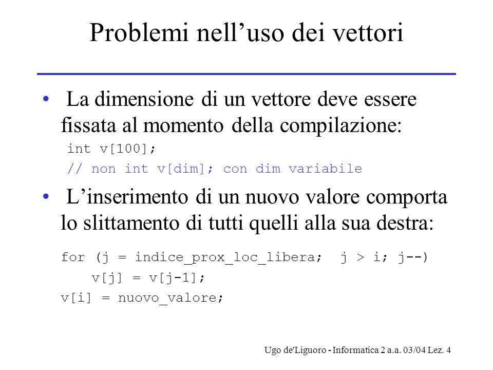 Ugo de'Liguoro - Informatica 2 a.a. 03/04 Lez. 4 Problemi nelluso dei vettori La dimensione di un vettore deve essere fissata al momento della compila