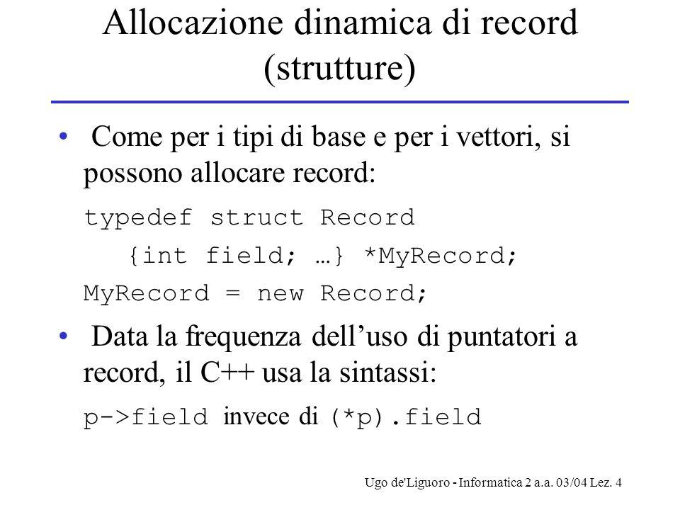 Ugo de'Liguoro - Informatica 2 a.a. 03/04 Lez. 4 Allocazione dinamica di record (strutture) Come per i tipi di base e per i vettori, si possono alloca