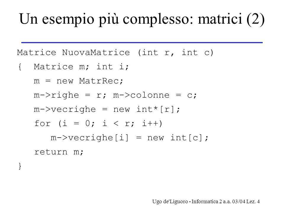 Ugo de'Liguoro - Informatica 2 a.a. 03/04 Lez. 4 Un esempio più complesso: matrici (2) Matrice NuovaMatrice (int r, int c) { Matrice m; int i; m = new