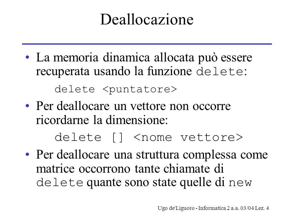 Ugo de'Liguoro - Informatica 2 a.a. 03/04 Lez. 4 Deallocazione La memoria dinamica allocata può essere recuperata usando la funzione delete : delete P