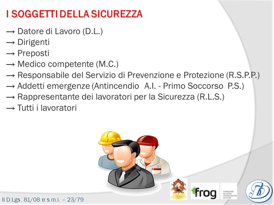 I SOGGETTI DELLA SICUREZZA Datore di Lavoro (D.L.) Dirigenti Preposti Medico competente (M.C.) Responsabile del Servizio di Prevenzione e Protezione (