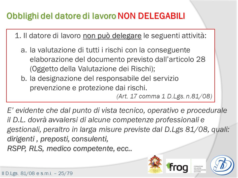 Obblighi del datore di lavoro NON DELEGABILI non può delegare 1. Il datore di lavoro non può delegare le seguenti attività: a.la valutazione di tutti