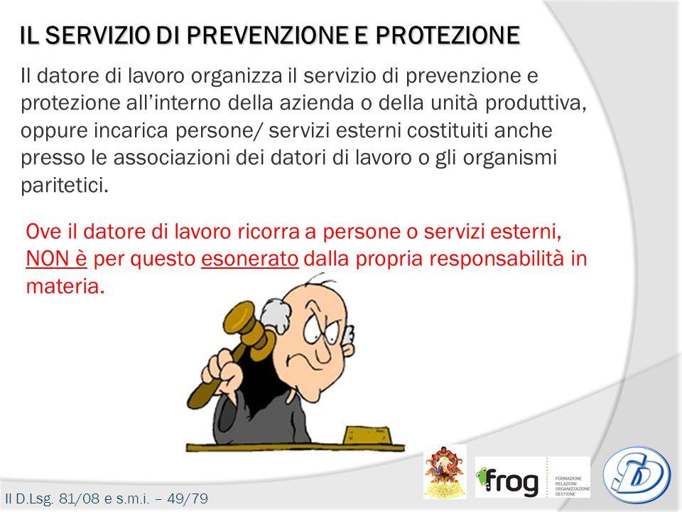Il datore di lavoro organizza il servizio di prevenzione e protezione allinterno della azienda o della unità produttiva, oppure incarica persone/ serv