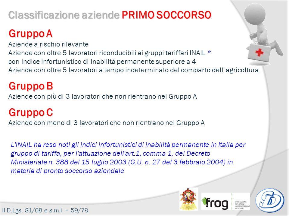 Classificazione aziende PRIMO SOCCORSO Il D.Lgs. 81/08 e s.m.i. – 59/79 Gruppo A Aziende a rischio rilevante Aziende con oltre 5 lavoratori riconducib