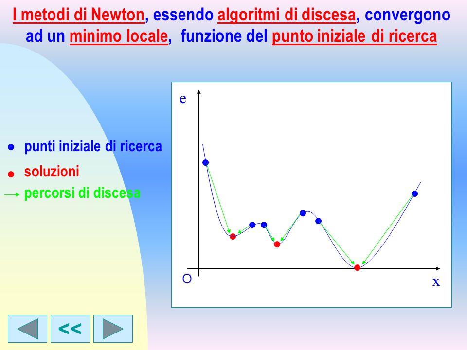 I metodi di Newton, essendo algoritmi di discesa, convergono ad un minimo locale, funzione del punto iniziale di ricerca soluzioni punti iniziale di r