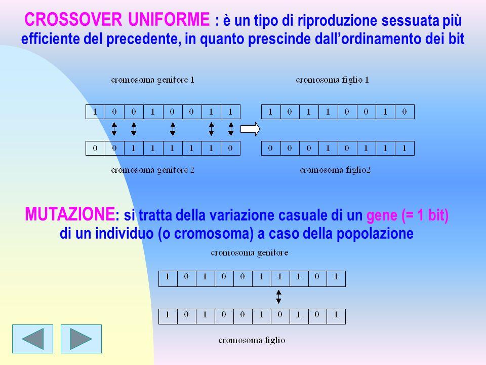 MUTAZIONE : si tratta della variazione casuale di un gene (= 1 bit) di un individuo (o cromosoma) a caso della popolazione CROSSOVER UNIFORME : è un t