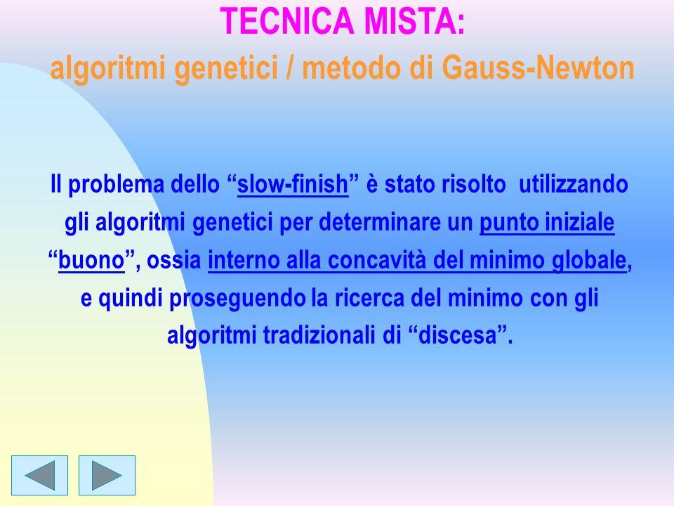 TECNICA MISTA: algoritmi genetici / metodo di Gauss-Newton Il problema dello slow-finish è stato risolto utilizzando gli algoritmi genetici per determ