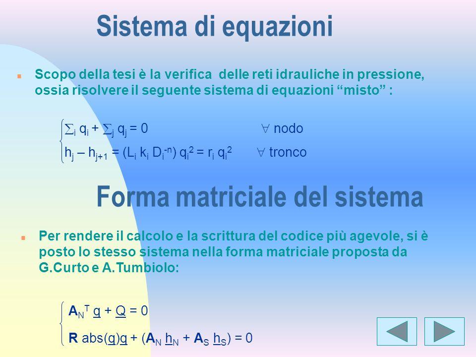 Sistema di equazioni n Scopo della tesi è la verifica delle reti idrauliche in pressione, ossia risolvere il seguente sistema di equazioni misto : i q