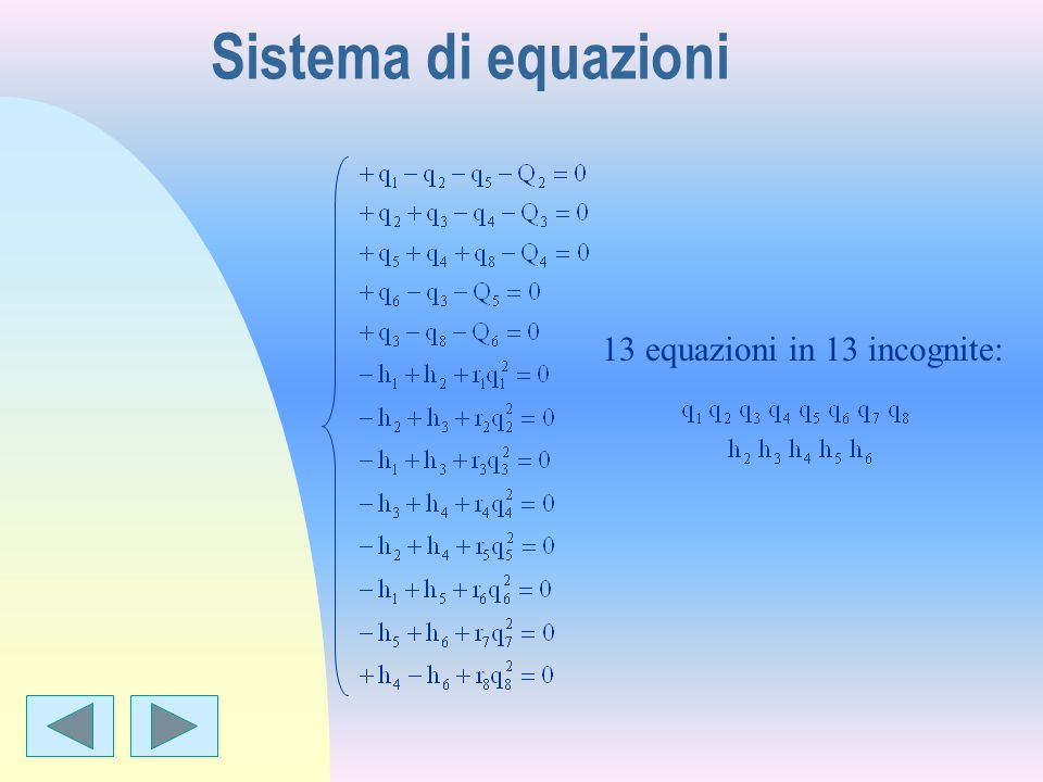 Per una soluzione approssimata: Il sistema diventa: