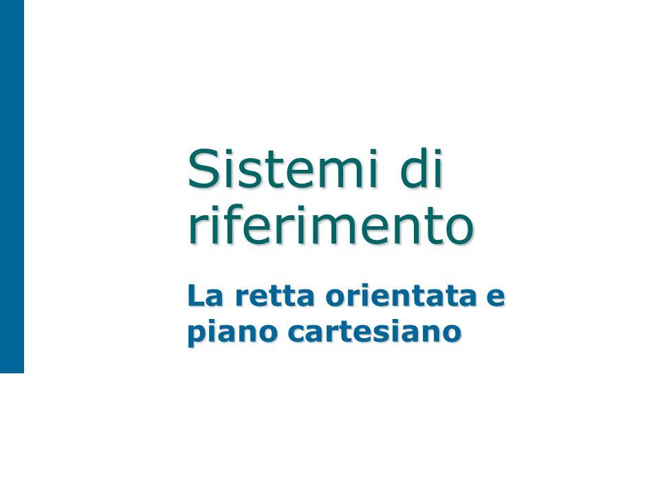 Sistemi di riferimento La retta orientata e piano cartesiano