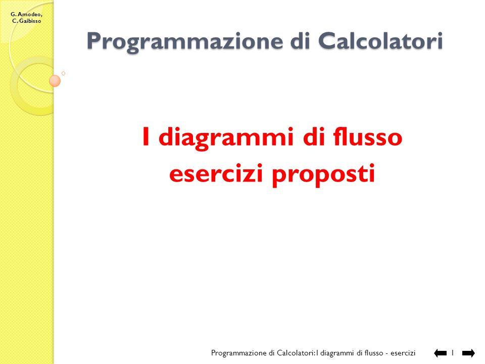 G. Amodeo, C. Gaibisso Programmazione di Calcolatori I diagrammi di flusso esercizi proposti Programmazione di Calcolatori: I diagrammi di flusso - es