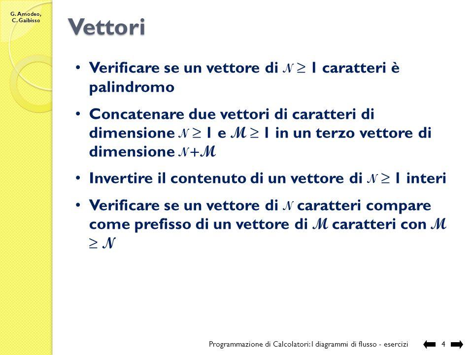 G. Amodeo, C. Gaibisso Vettori Verificare se un vettore di N 1 caratteri è palindromo Concatenare due vettori di caratteri di dimensione N 1 e M 1 in