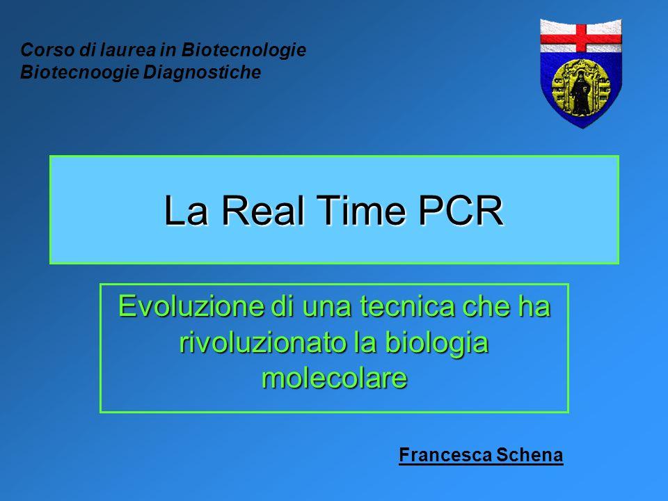 La Real Time PCR Evoluzione di una tecnica che ha rivoluzionato la biologia molecolare Corso di laurea in Biotecnologie Biotecnoogie Diagnostiche Fran
