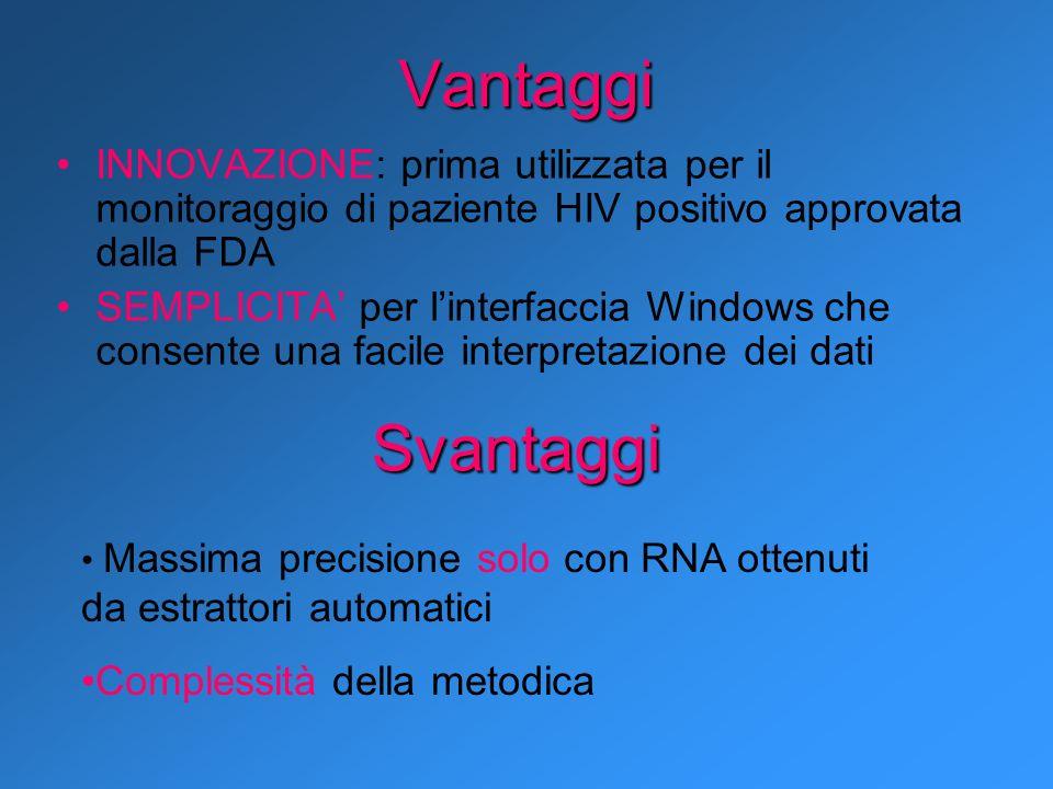 Vantaggi INNOVAZIONE: prima utilizzata per il monitoraggio di paziente HIV positivo approvata dalla FDA SEMPLICITA per linterfaccia Windows che consen