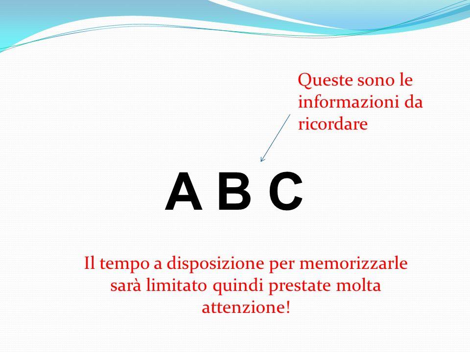 A B C Queste sono le informazioni da ricordare Il tempo a disposizione per memorizzarle sarà limitato quindi prestate molta attenzione!