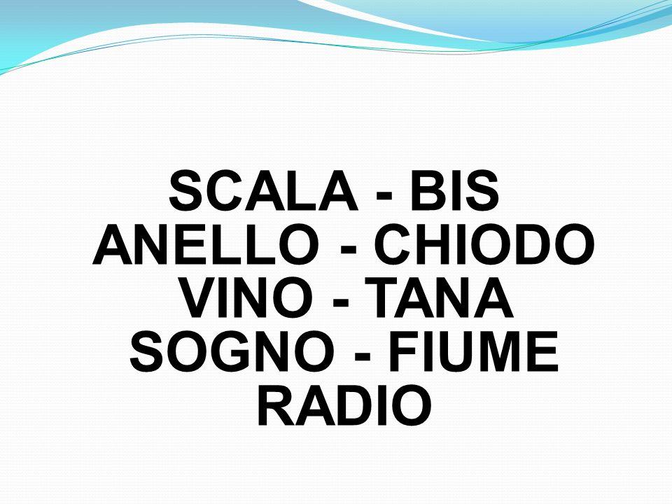 SCALA - BIS ANELLO - CHIODO VINO - TANA SOGNO - FIUME RADIO