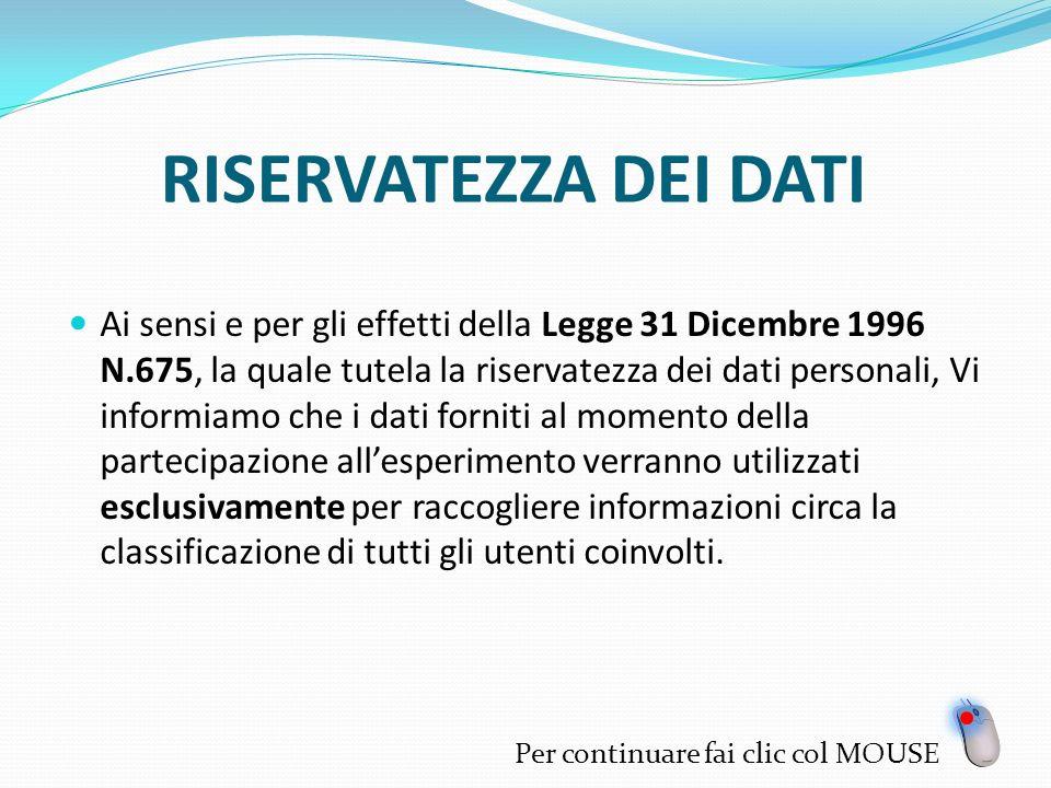 RISERVATEZZA DEI DATI Ai sensi e per gli effetti della Legge 31 Dicembre 1996 N.675, la quale tutela la riservatezza dei dati personali, Vi informiamo che i dati forniti al momento della partecipazione allesperimento verranno utilizzati esclusivamente per raccogliere informazioni circa la classificazione di tutti gli utenti coinvolti.