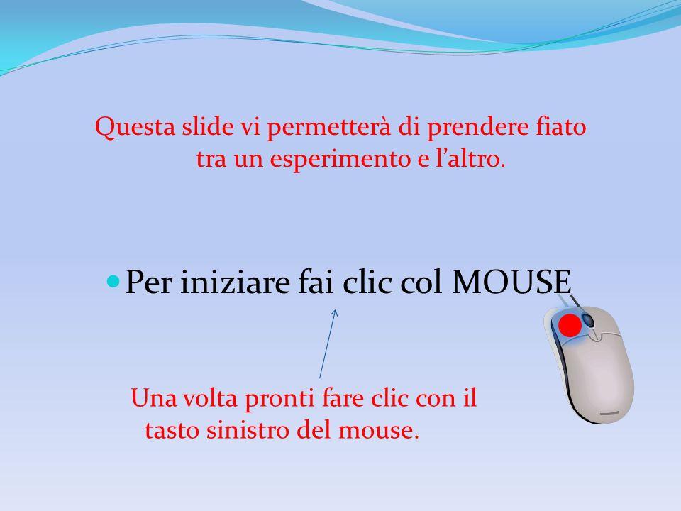 Per iniziare fai clic col MOUSE Una volta pronti fare clic con il tasto sinistro del mouse.