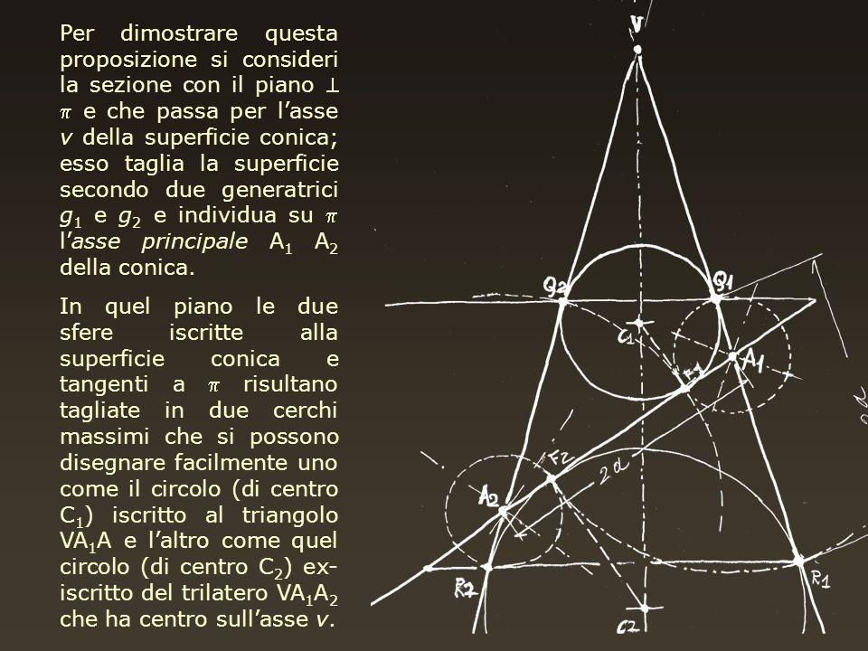 Per dimostrare questa proposizione si consideri la sezione con il piano e che passa per lasse v della superficie conica; esso taglia la superficie sec