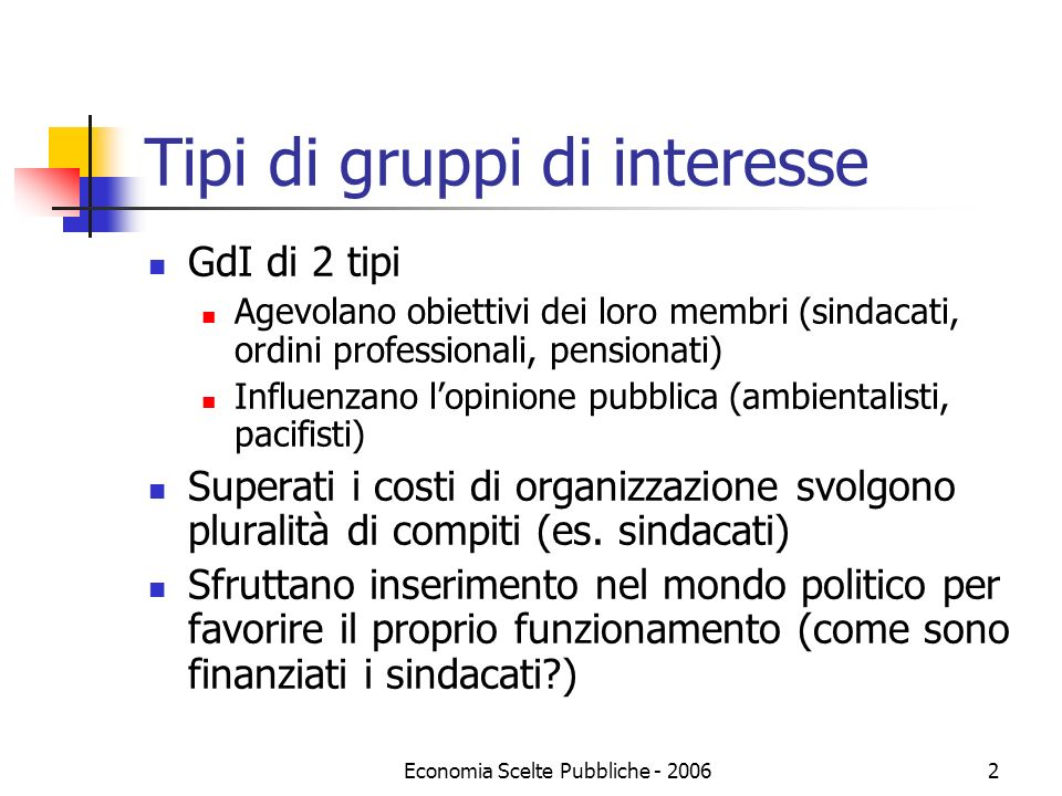Economia Scelte Pubbliche - 20062 Tipi di gruppi di interesse GdI di 2 tipi Agevolano obiettivi dei loro membri (sindacati, ordini professionali, pens