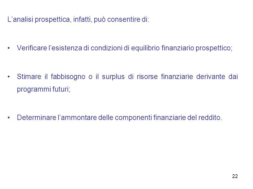 22 Lanalisi prospettica, infatti, può consentire di: Verificare lesistenza di condizioni di equilibrio finanziario prospettico; Stimare il fabbisogno